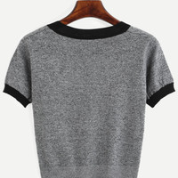 Grey Contrast Trim Knitted T-shirtFor Women-romwe