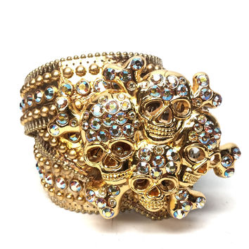 "B.B. Simon "" Golden Cranium"" Swarovski Crystal Belt"