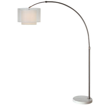 Trend BFA8400 Brella Brushed Nickel One-Light Arc Floor Lamp with Sheer Snow/Shantung Two Tier Shade