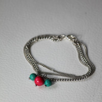 Silver chain bracelet with real claret and turquoise mineral beads. Chain bracelet.