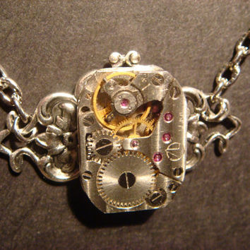 Steampunk Neo Victorian Vintage Watch Movement Necklace on Ornate Setting (357)