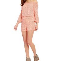 GB Ditsy Print Long-Sleeve Smocked Off-The-Shoulder Romper | Dillards