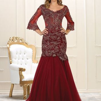 Evening Dress Long Sleeve Prom Gown Formal