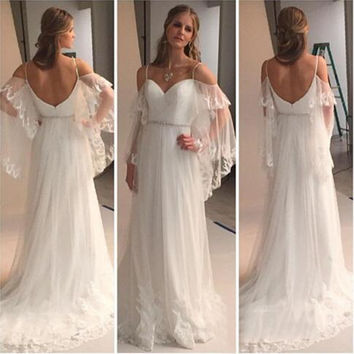 Bridal Dress Wedding Dress Sexy Bohemian A Line Sweetheart Appliques Lace Plus Size Backless Gowns robe de mariage 2017