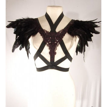 SAINT - Sexy Gothic Glamour Black Lace Feather Shoulder Epaulettes Cage Bra Harness Top Strap Bralet