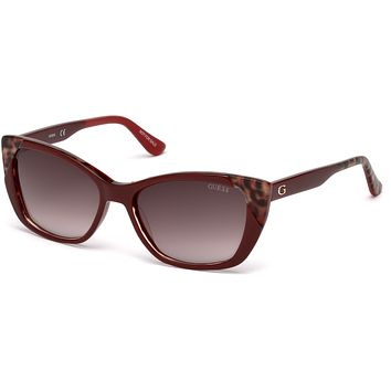 Guess - GU7511 Shiny Red Sunglasses / Gradient Brown Lenses