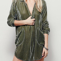 Cozy Velvet Mini Shirt Dress