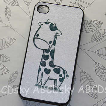 Cute Giraffe --- pu Leather paste case ,iphone 4 hard case, for Iphone 4s, Iphone 4 ,Iphone 4g ,iphone 5 case, iphone 5 cover