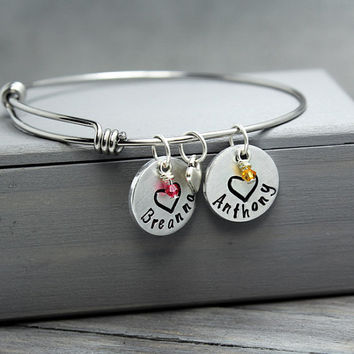 Bangle Bracelet, Charm Bracelet, Adjustable Bangle, Mother Bracelet, Mother Jewelry,  Adjustable Bracelet, Mom Bracelet, Birthstone Bracelet