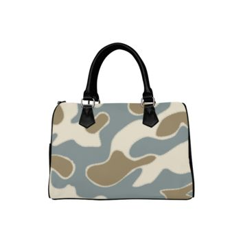 Personalized Women Bag Tan And Gray Camouflage Boston Top Handbag
