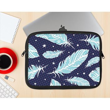 The Blue Aztec Feathers and Stars Ink-Fuzed NeoPrene MacBook Laptop Sleeve