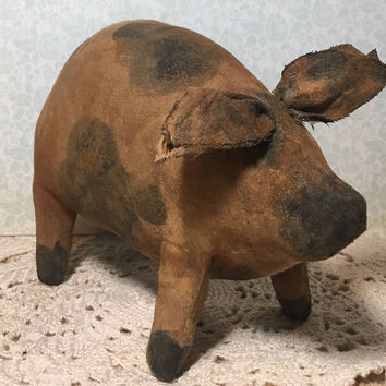 Primitive Country Farmhouse Decor - Primitive Pig