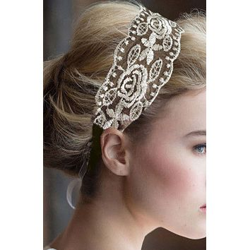 SALE  Vintage Ivory Gold Lace Wedding Bridal Hairband