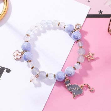 2018 New Candy Color Cute Cat Beaded Bracelets For Women Hand Vintage Jewelry Charm Bracelets