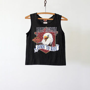 1980s Harley Davidson Tank Top / Vintage Born to Ride Tee