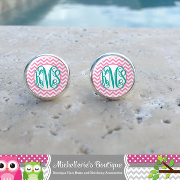 Hot Pink and White Chevron Monogram Earrings, Monogram Jewelry, Monogram Accessories, Monogram Studs, Monogram Leverback, Monogram Gift