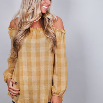 Sunflower Fields Off The Shoulder Tunic