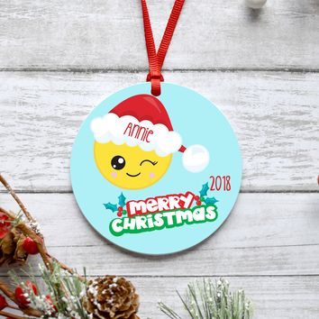 Winky Face Emoji Christmas Ornament