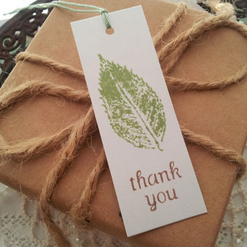 Leaf Print Thank You Tags Set of 50
