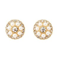 Pearl & Rhinestone Button Earrings by Charlotte Russe - Gold