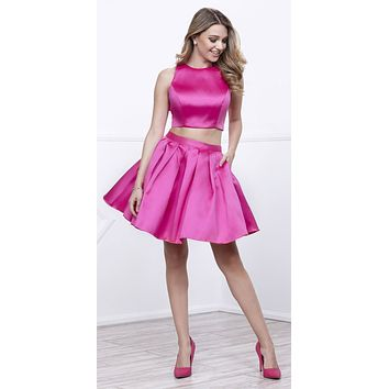 Fuchsia Two-Piece Short Homecoming Dress Sleeveless with Pockets