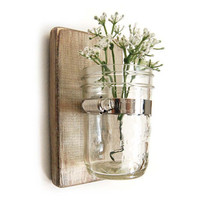 shabby chic wood sconce wall vase cottage style by OldNewAgain