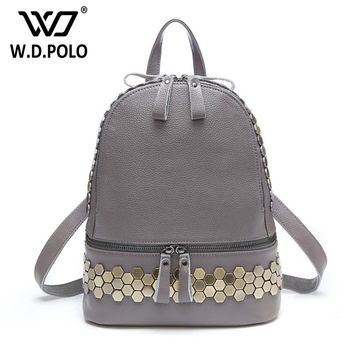 WDPOLO Women's Classical genuine leather bolsa backpack color stud and rock lady shoulder bag high chic double zipper M2199