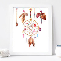 Dreamcatcher art Print, dream catcher wall decor Watercolor Print,  Digital Instant Download, 8x10