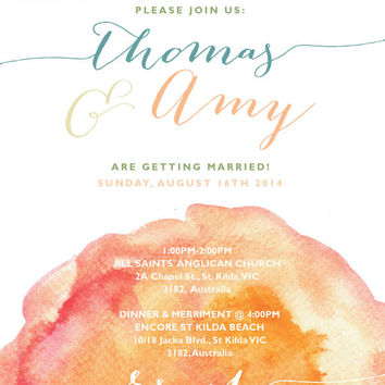 Personalized Watercolor Wedding Invite