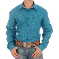 Cinch Men's Modern Fit Blue Print Shirt