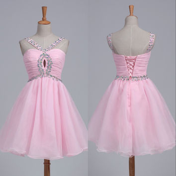 Baby Pink Crystal Organza Homecoming Dresses