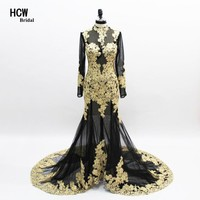 Black Mermaid Evening Dress With Gold Lace 2018 Sexy Illusion See Through Special Occasion Dresses Long Sleeve Evening Gowns