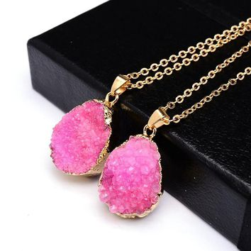 Druzy Quartz Natural Stone ~ Irregular Geode Amethyst ~ 18K Gold Plated Raw Stone Pendant  Gold red