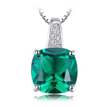 Jewelry Palace Cushion 3.4ct Simulated Green Russian Nano Emerald Solitaire Pendant Necklace 925 Sterling Silver 18 Inches