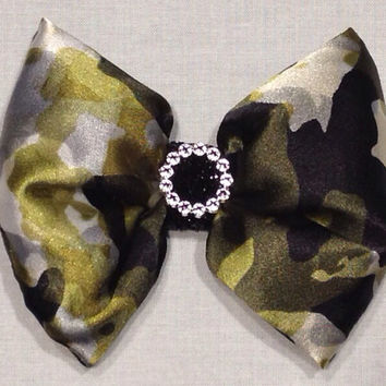 Silky Camouflage Fabric Hair Bow; Full Shape, Military Style, Shiny