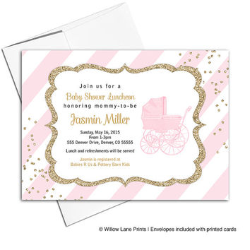 Girl baby shower invites printable | pink and gold baby shower invitations pink stripes and baby carriage | printable or printed - WLP00736