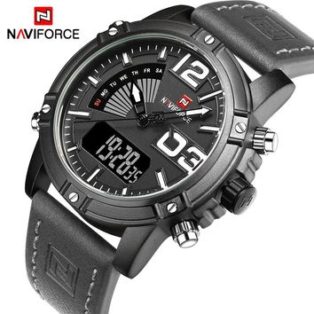 NAVIFORCE NF9095BWGY Luxury Sport Quartz Digital Men's Waterproof Watches