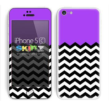 Solid Hot Purple Color and Chevron Pattern Skin For The iPhone 5c