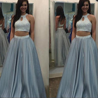 Dusty Blue Prom Dress,Two Piece Prom Dress,Long Prom Dress,2017 Prom Dress,MA054