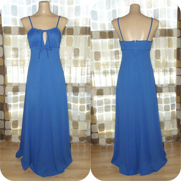 Vintage 70s True Blue Sexy Cut-out Disco Maxi Dress XS/ S Slinky Hostess Gown