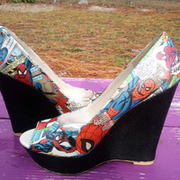 Spiderman - Marvel Comic Book Wedges with Black Glitter Heel - Comic Book Heels - Comic Book Shoes