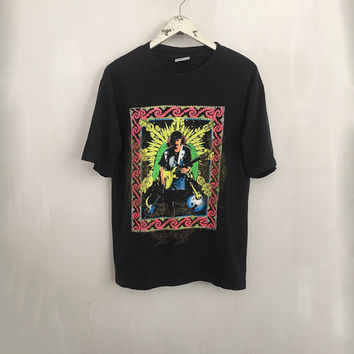 Santana shirt 1994 vintage t shirt band t-shirts George Santana rock tshirt 90s rock and roll clothing word tour tee black shirts large