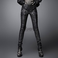 Pleather studded gothic skinny jeans - Punk Rave