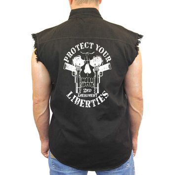 Men's Sleeveless Denim Shirt Protect Your Liberties 2nd Amendment Biker