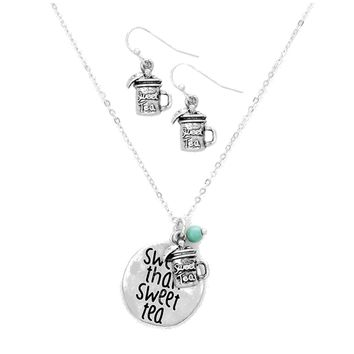 Sweeter than Sweet Tea Mason Jar Necklace and Earrings