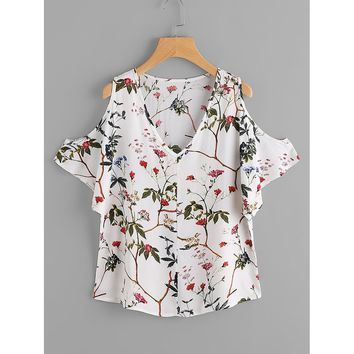 Random Florals Open Shoulder Blouse