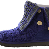 Authentic UGG Australia Leland Classic Cardy Knit Cable Women's Purple/Gray Boots 1000464