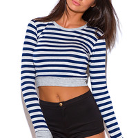 NABY BLUE STRIPE RIBBED LONG SLEEVE FITTED TEE SHIRT CROP TOP