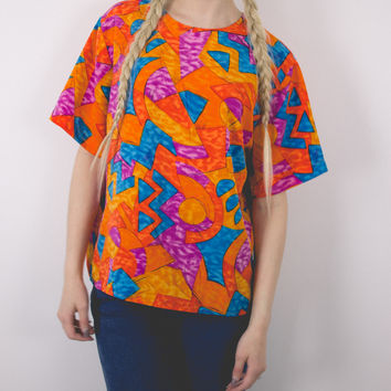 Vintage Orange Abstract Blouse