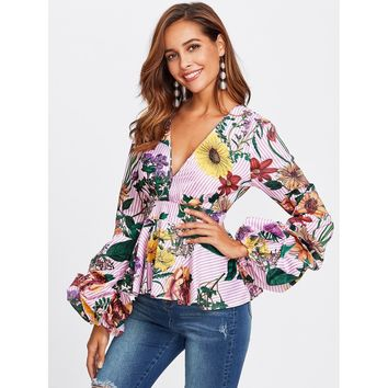 Multicolor Mixed Print Plunging Peplum Top